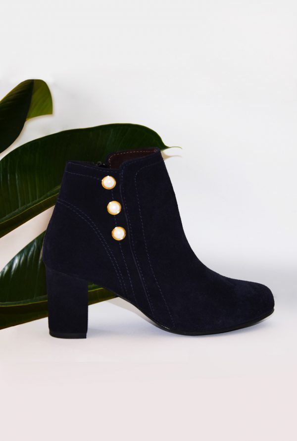 Goat Suede Ankle Boots with Pearls by Small Shoes by Cristina Correia