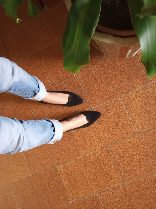 Black Pointy Medium Heel Slip-on by Small Shoes by Cristina Correia
