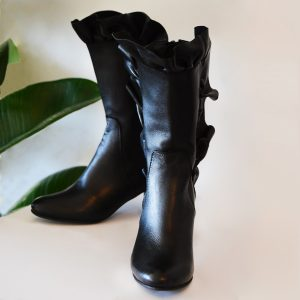 Leather Boots with Ruffles and Cylindrical Heel by Small Shoes by Cristina Correia