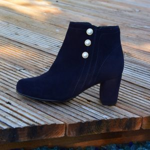 Suede Ankle Boots with Pearls Heel by Small Shoes by Cristina Correia