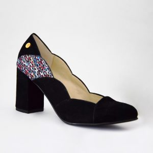 Nobuck Colored with curved design and high heel
