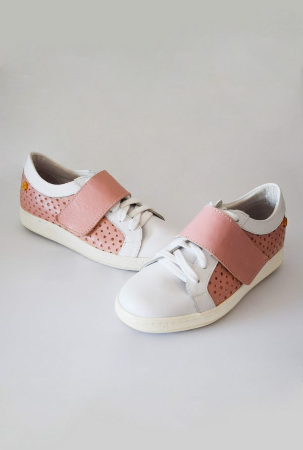 Pink and White Leather Sneakers by Small Shoes by Cristina Correia