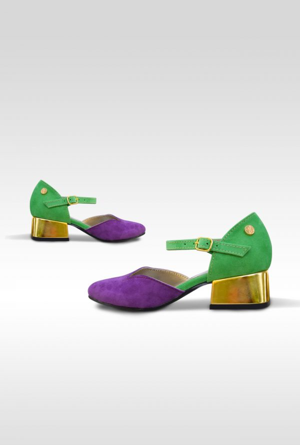 Purple and Green Semi-opened Shoes