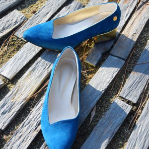 Navy Blue Shoes in Goat Suede for Petite Women