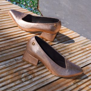 Copper Metallic Leather Pointy Slip-on by Small Shoes by Cristina Correia