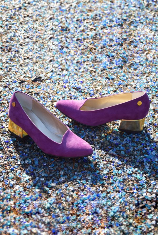 Purple Pointy Slip-on with Gold Heel in Small Sizes