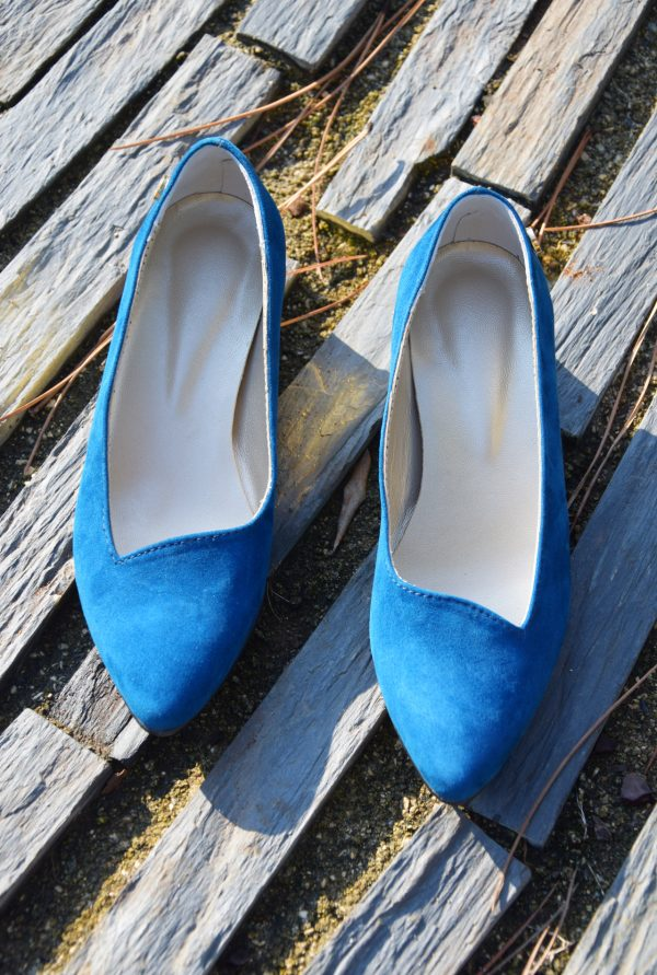 Blue Goat Suede Slip-ons with Syntethic Golden Heels
