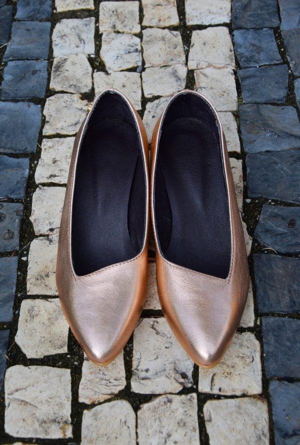 Slip-On Rose Gold Leather Heels