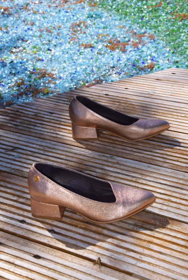 Copper Metallic Leather Pointy Slip-on 33, 34, 35 and 3
