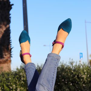 Navy Blue and Purple Petite Women Heels