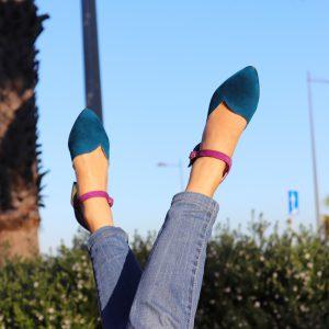 Navy Blue and Purple Petite Women Heels