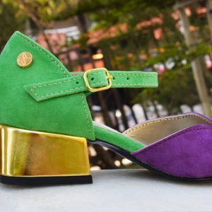Green and Violet D'Orsay with Synthetic Gold Heel