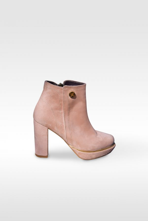 Nude Ankle Boots with Platforms and Gold Details