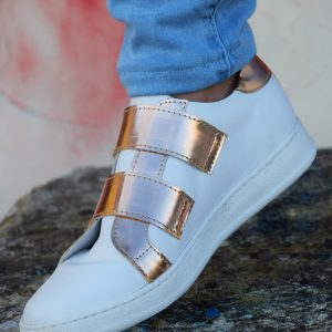 White and Rose Gold Metallic Leather Sneaker in Small Sizes