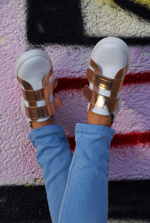 White and Rose Gold Metallic Leather Sneaker