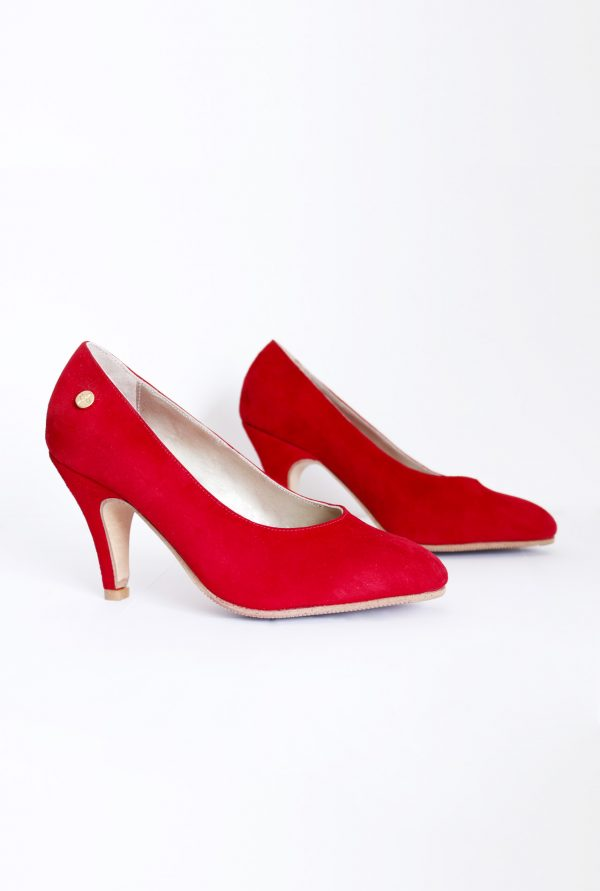 Red Suede Pumps in Small Sizes