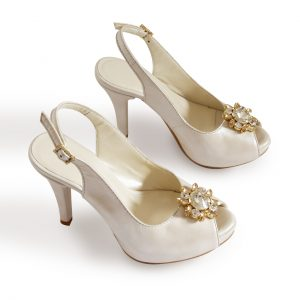 Slingback Pearl White Wedding Pumps