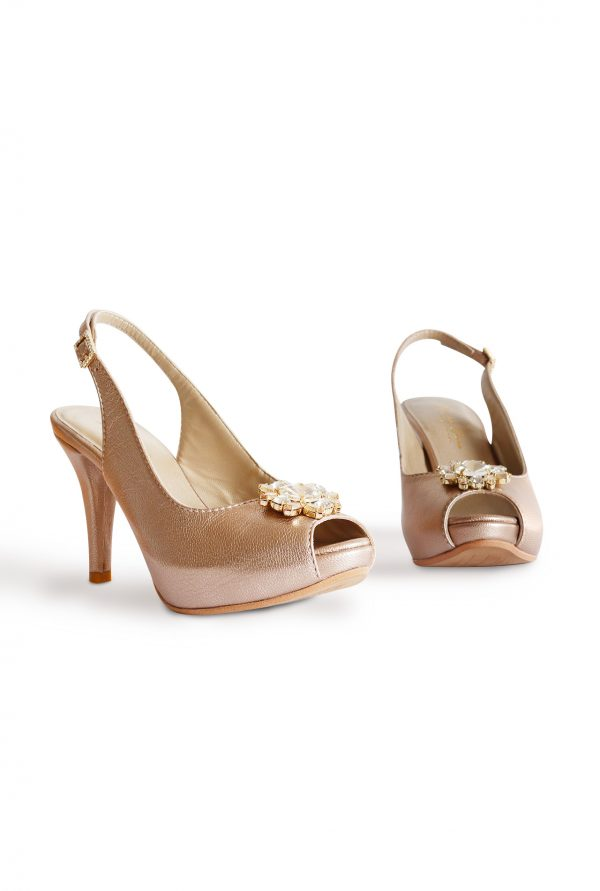 Side and Front of the Gold Sand Lisbon Peep Toes
