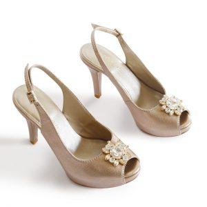 Lisbon Sand Gold Pumps Pair from the Top