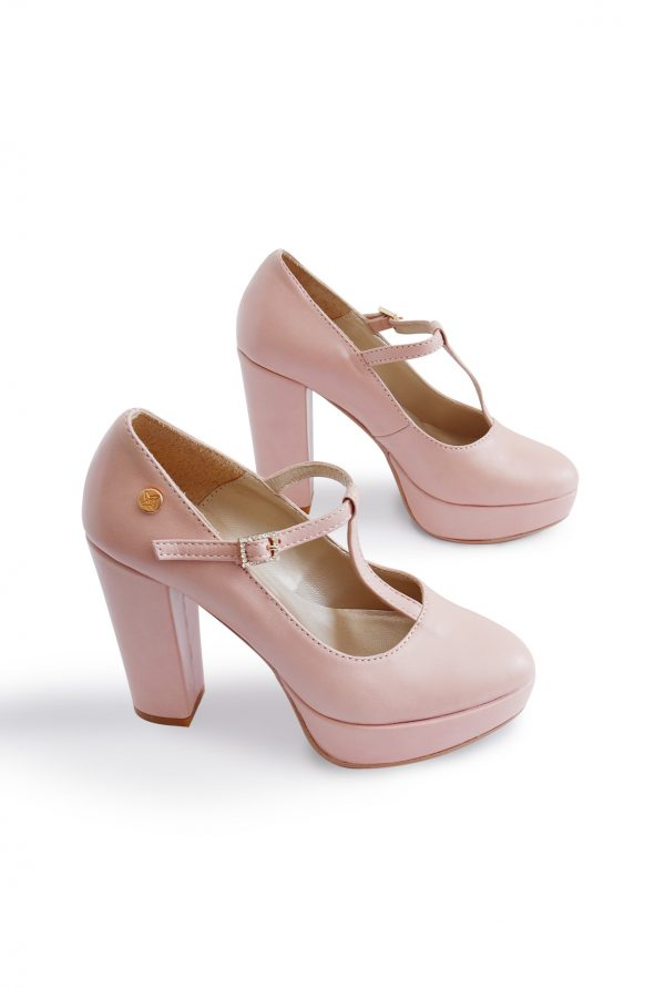 Nude comfortable heels pair from the top
