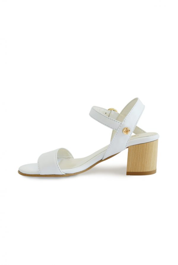 Wood Heel White Sandals