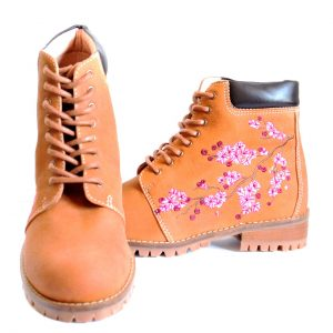 Camel Cherry Blossom Embroidered Ankle Boots