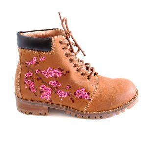 Sakura Embroidered Ankle Boots