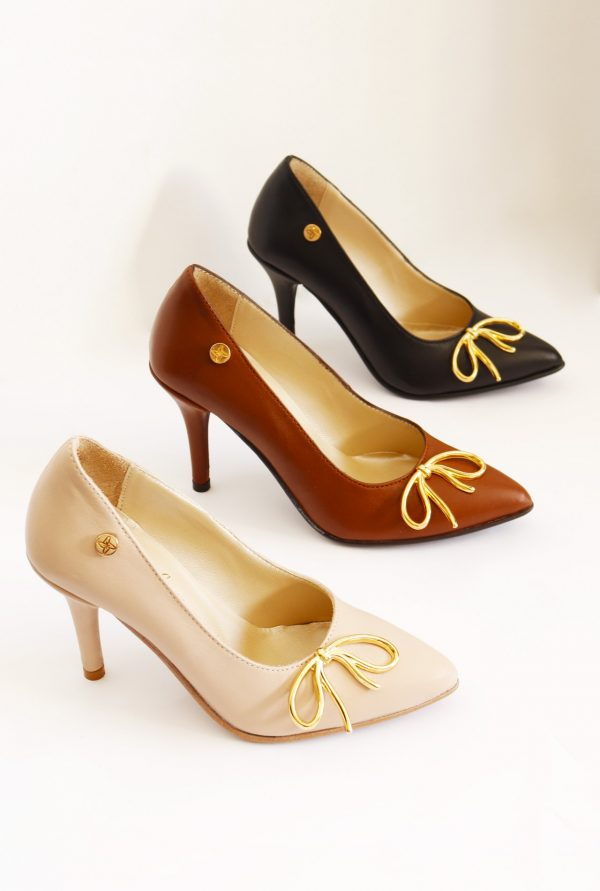All Colors Stilettos with Gold Metallic Bow