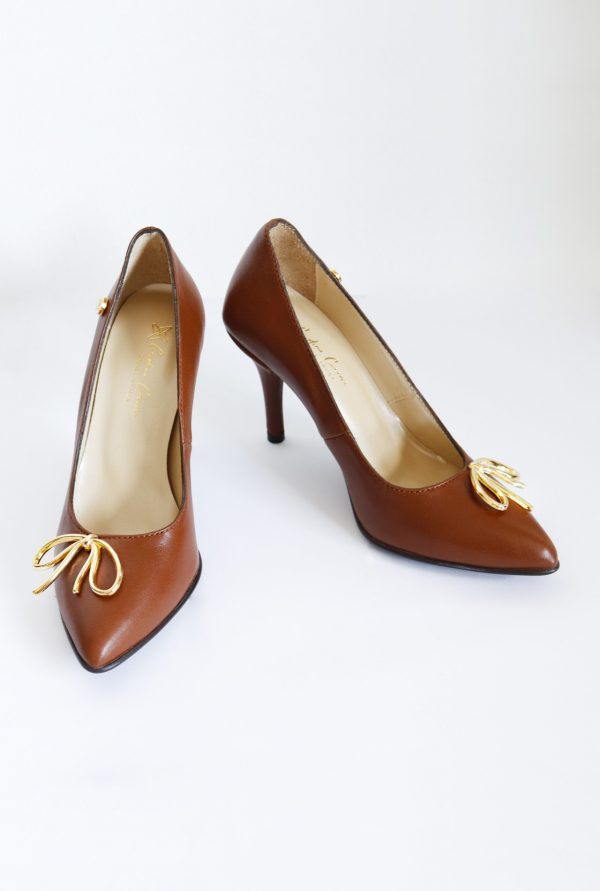 Brown Leather Pointy Stilettos for Petite Women