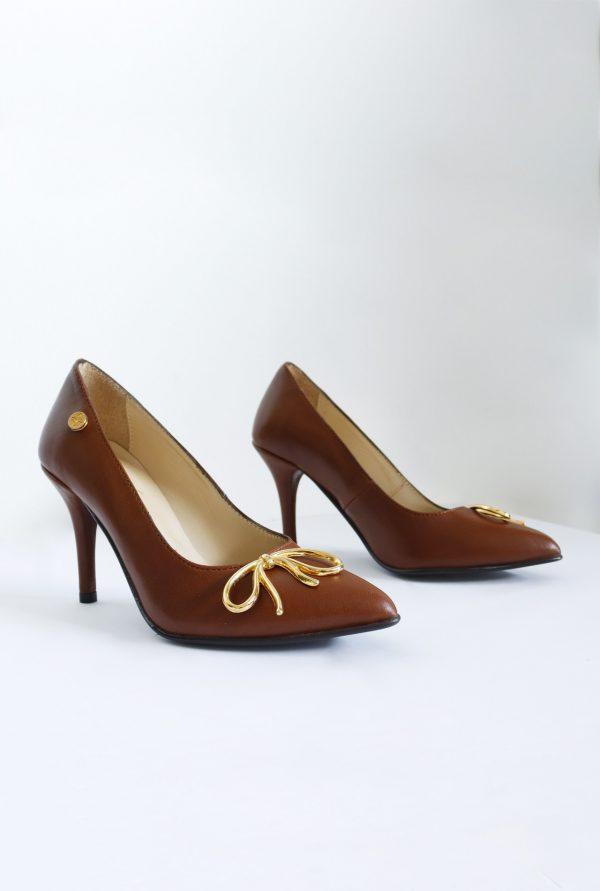 Brown Stilettos Pair on the Sides