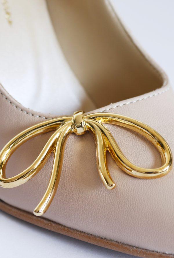 Gold Metallic Bow on Pointy Shoe