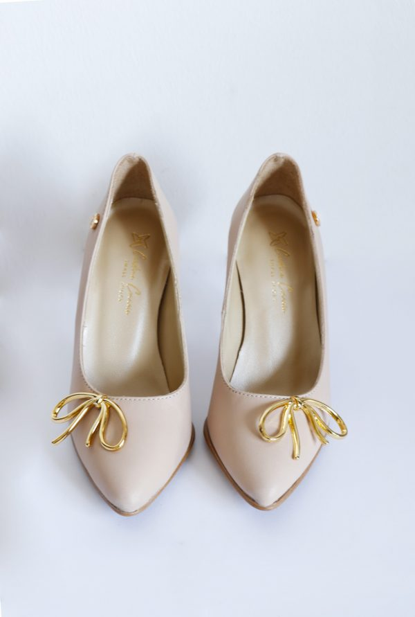 Nude Heels with Golden Bow Front