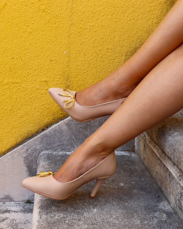Nude Stilettos with Bow on Model