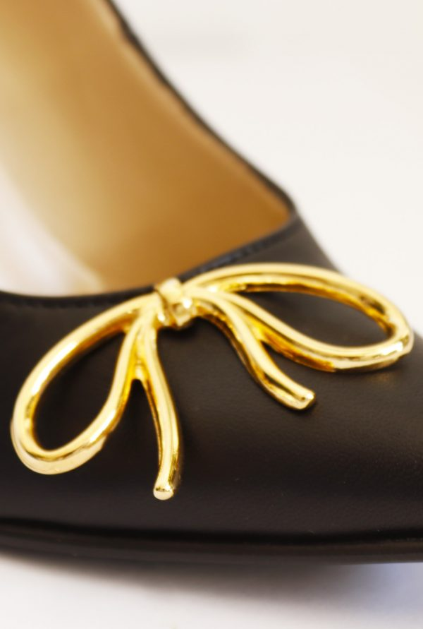Side Gold Metallic Bow on Pointy Front