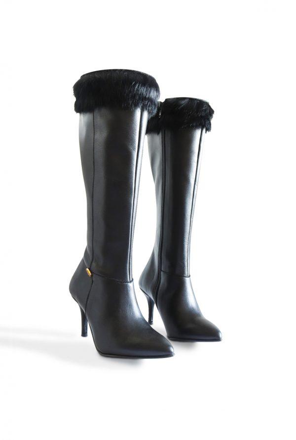 Black High Leg Boots for Small Feet Women