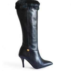 Stiletto Heel Boots with Rabbit Fur Side