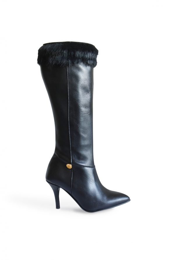 Stiletto Heel Boots with Rabbit Fur Side