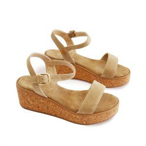 Beige Suede Cork Sandals